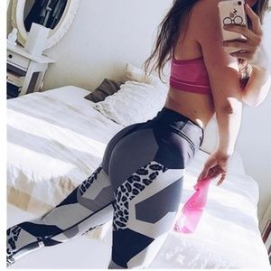 Grey Leopard Yoga Leggings